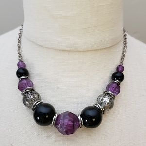 Jewelry - Purple black & silver statement necklace